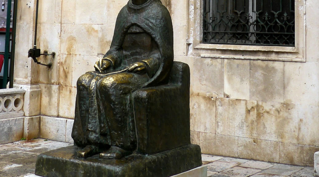 Marin Držić statue in Dubrovnik